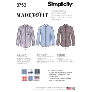 Simplicity Pattern 8753 Men's Classic, Modern And Slim-Fit Shirt