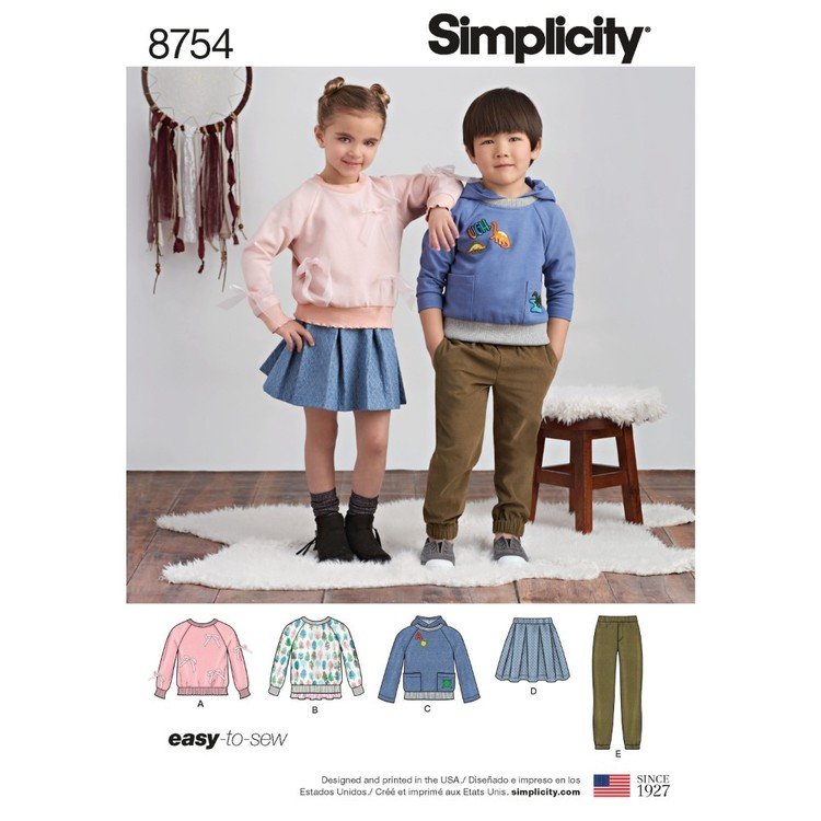 Simplicity Pattern 8754 Children's Pants, Skirt And Sweatshirts