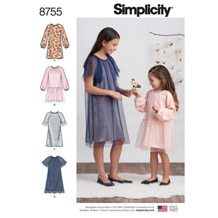 Simplicity Pattern 8755 Children's And Girls' Dresses