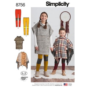 Simplicity Pattern 8756 Children's And Girls' Poncho And Leggings