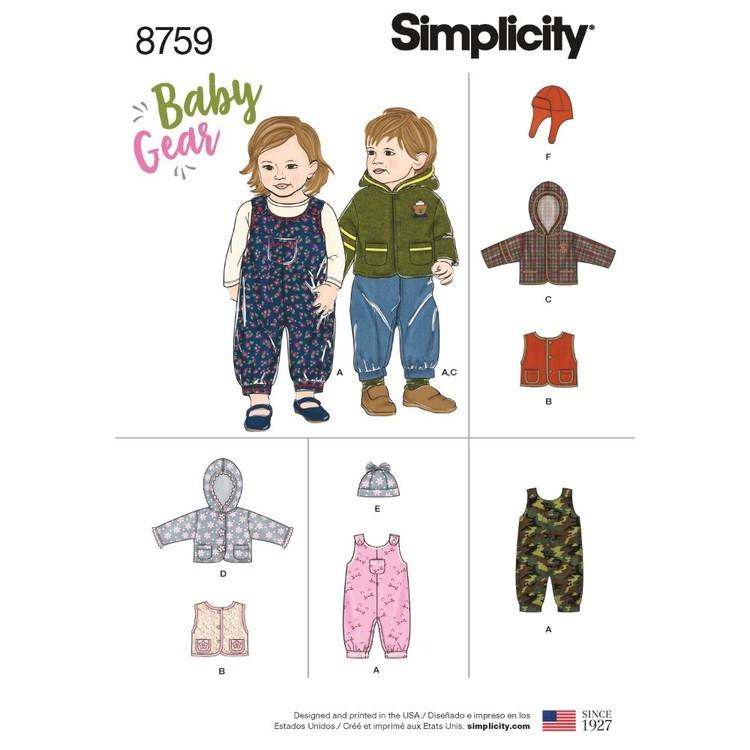 Simplicity Pattern 8759 Babies' Sportswear