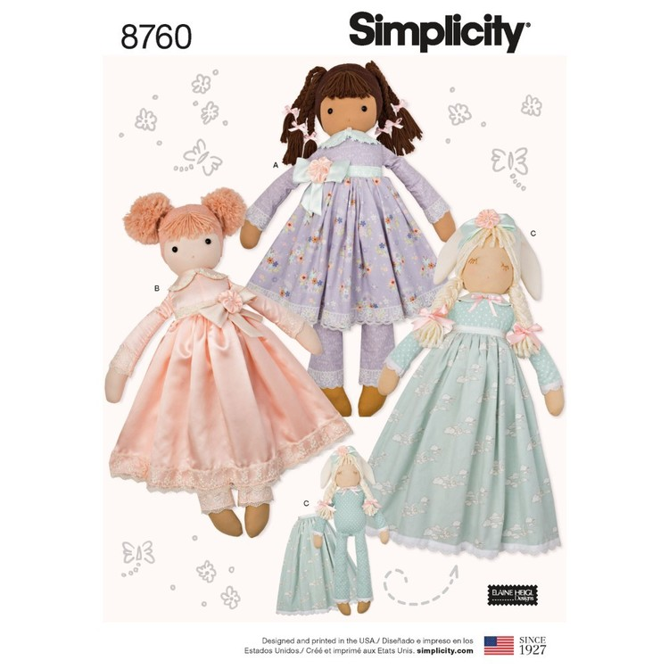 Simplicity Pattern 8760 Stuffed Dolls