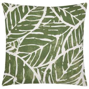 Bouclair Green Shelter Rama Printed Leaf Cushion