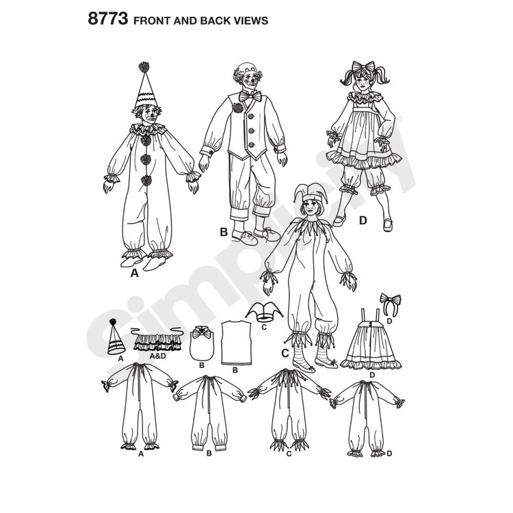 Simplicity Pattern 8773 Misses', Men's And Teens' Costumes Small - Large