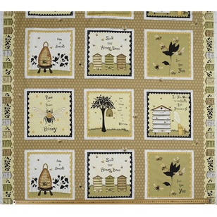 Studio E Bee A Keeper Black Cotton Panel