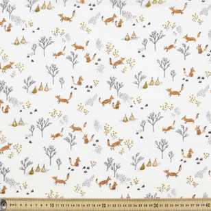 Camping Fox Printed 135 cm Muslin Fabric