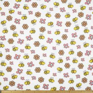 Buzy Bees Printed 148 cm Micro Nursery Fleece Fabric