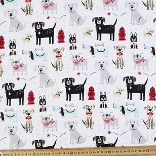 Dogs Drool Printed Flannelette Fabric