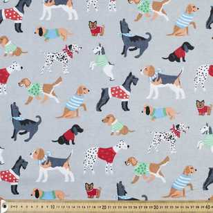 Dogs Printed Flannelette Fabric