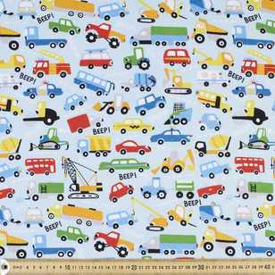 Vehicles Printed Flannelette Fabric