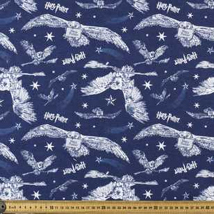 Harry Potter Blue Owls Allover Flannelette Fabric