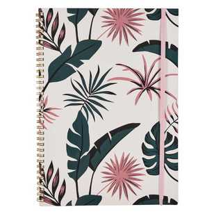 Francheville Exotic Greenhouse Pink & Leaves Wiro A4 Notebook