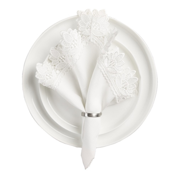 Koo Home Victoria Lace Pack of 4 Napkin White 45 x 45 cm