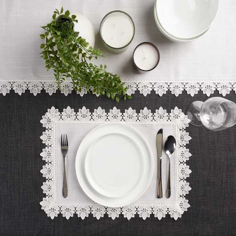 Koo Home Victoria Lace Placemat 4 Pack White 33 x 48 cm