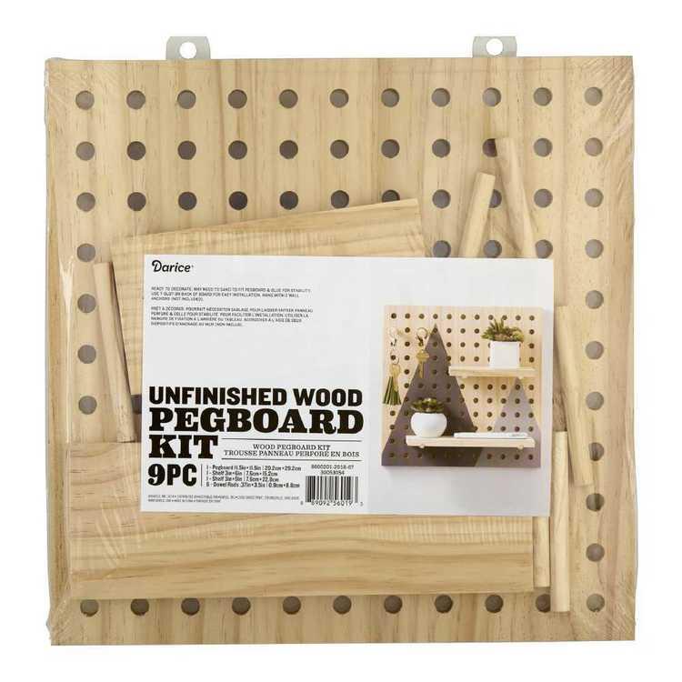 Wood Pegboard 9 Pc Kit