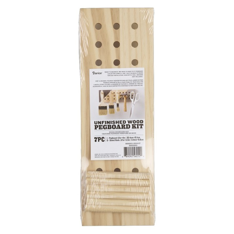 Wood Pegboard 7 Pc Kit