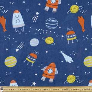 Rocket In Space Cotton Fabric