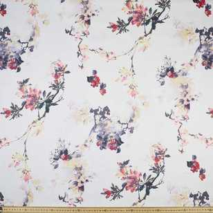 Watercolour Floral Printed Cotton Sateen Fabric
