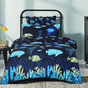 Ombre Blu Neon Reef Quilt Cover Set