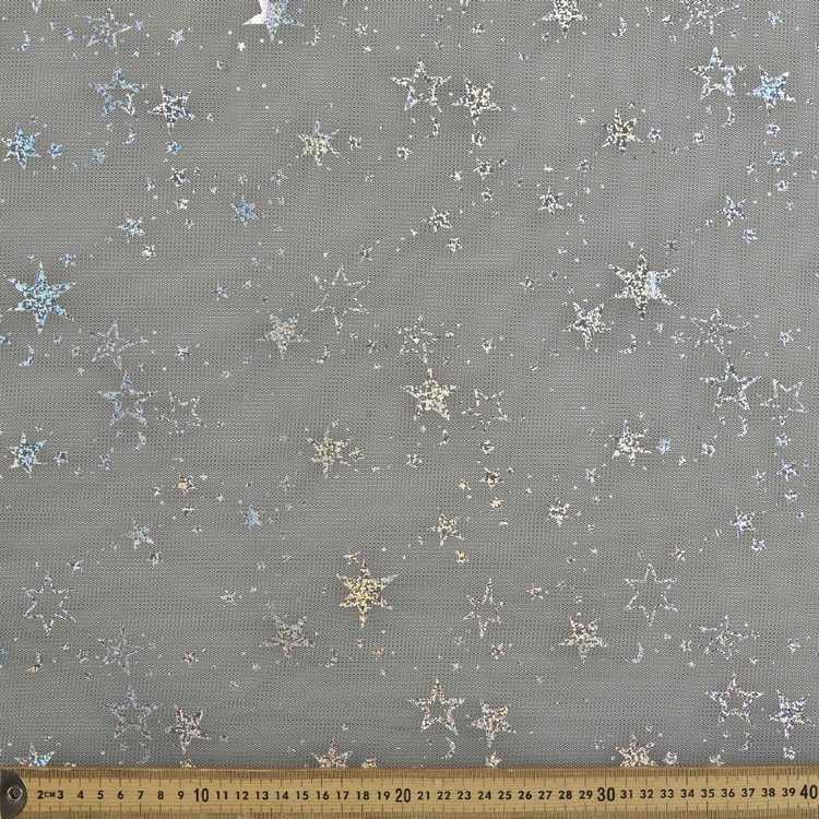 148 Cm Silver Stars Foil Mesh Fabric