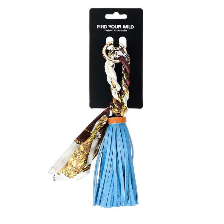 Find Your Wild Pleather Tassel With Printed Tie