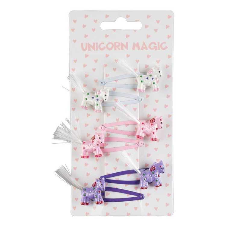 Unicorn Magic Glitter Unicorn Snap Clip 6 Pack