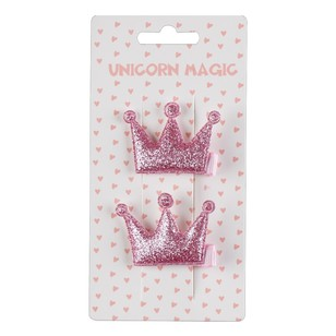 Unicorn Magic Glitter Crown Hair Clip 2 Pack