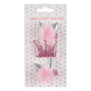 Unicorn Magic Glitter Crown Hair Clip 3 Pack