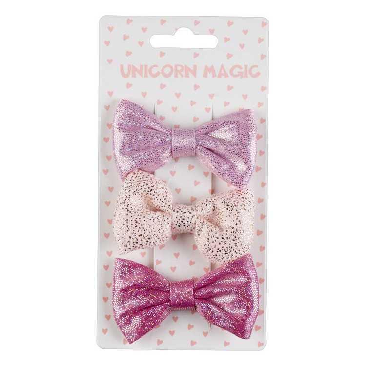 Unicorn Magic Shimmer Bow Hair Clip 3 Pack