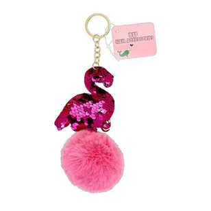 BFF Sequin Bird Fom Fom Key Chain