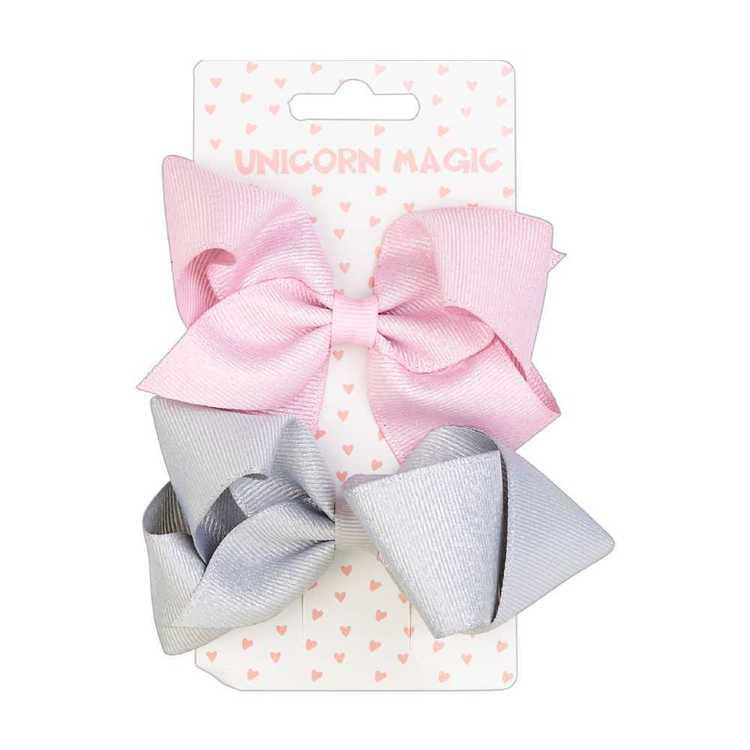 Unicorn Magic Ribbon Bow Hair Clip 2 Pack
