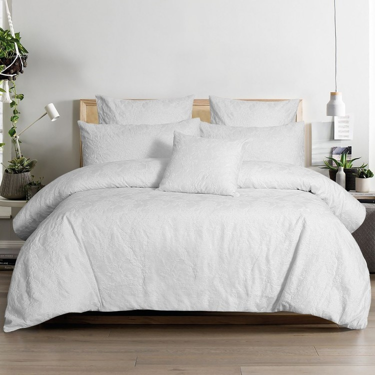 KOO Elite Iris Quilt Cover Set White