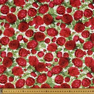Chandelier Rose Bunch Allover Cotton Fabric