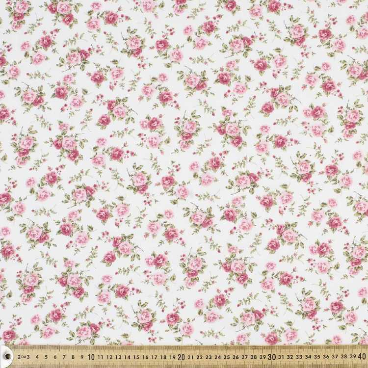 Classic Rose Floral Printed Country Garden TC Fabric Ivory 112 cm