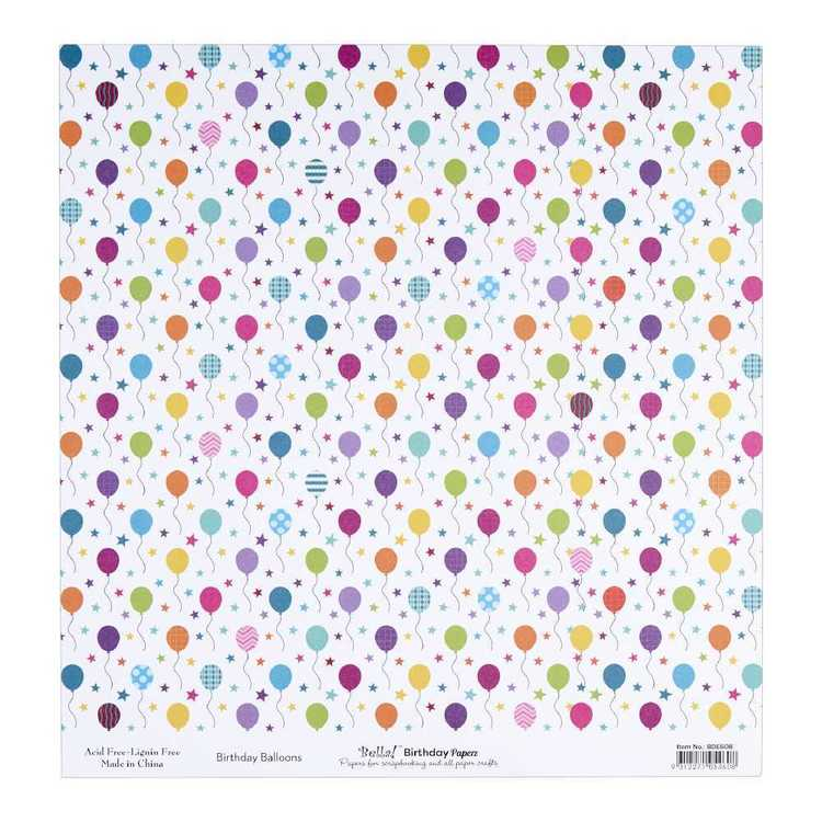 Bella Birthday Balloons Cardstock Paper