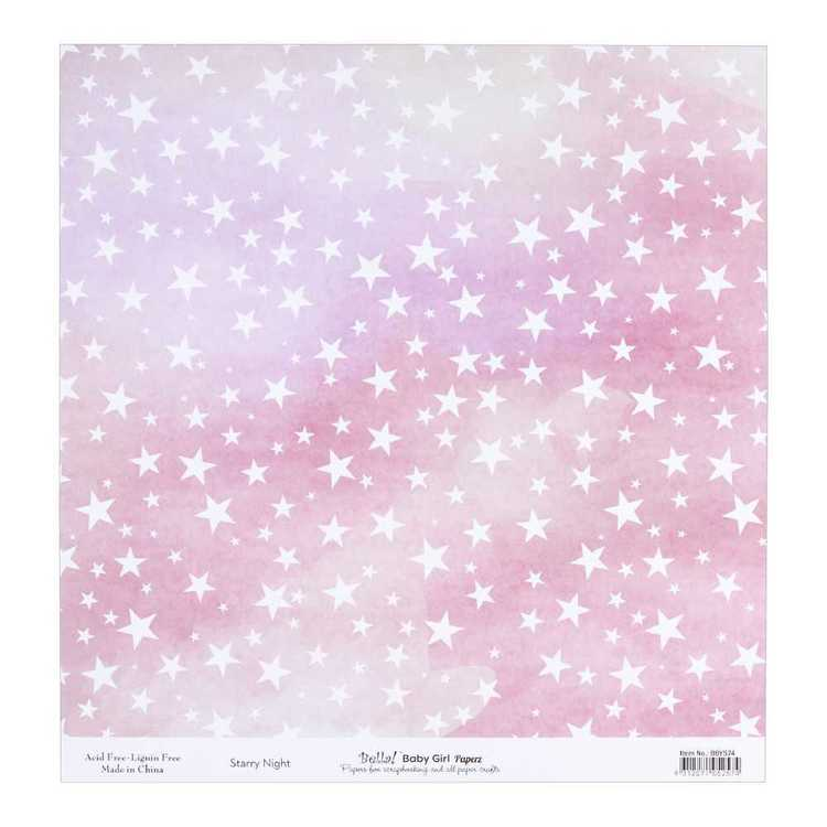Bella Baby Girl Starry Night Cardstock Paper