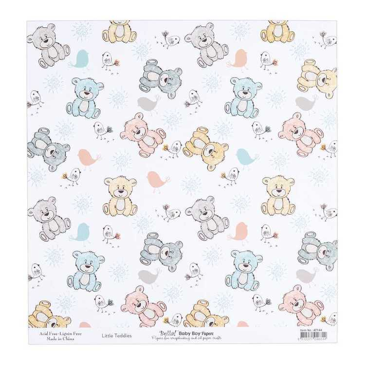 Bella Baby Boy Little Teddies Cardstock Paper