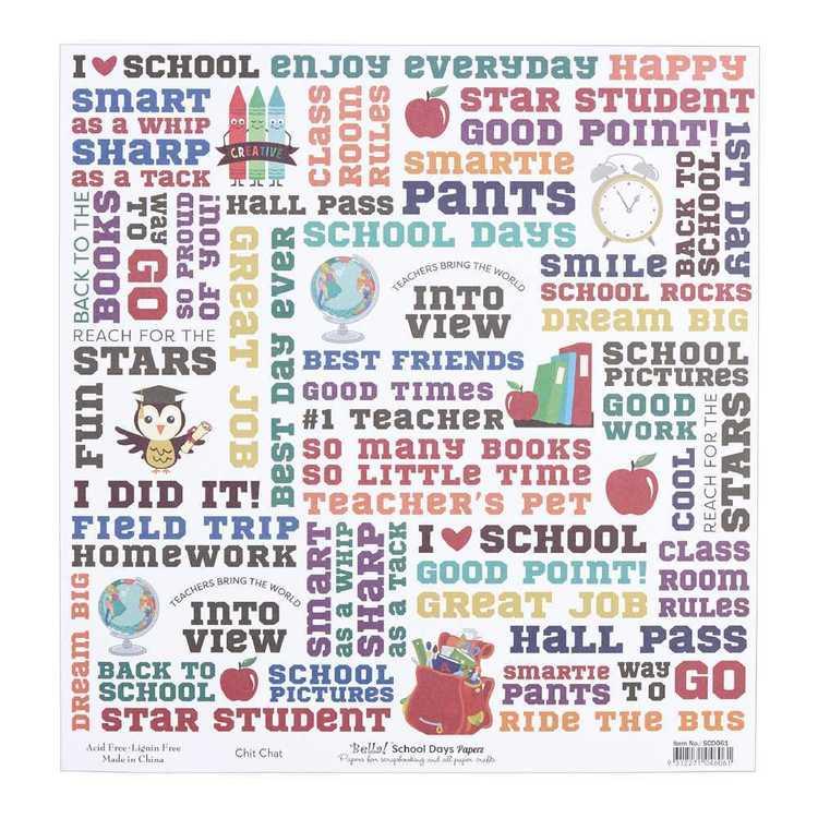Bella School Days Chit Chat Cardstock Paper