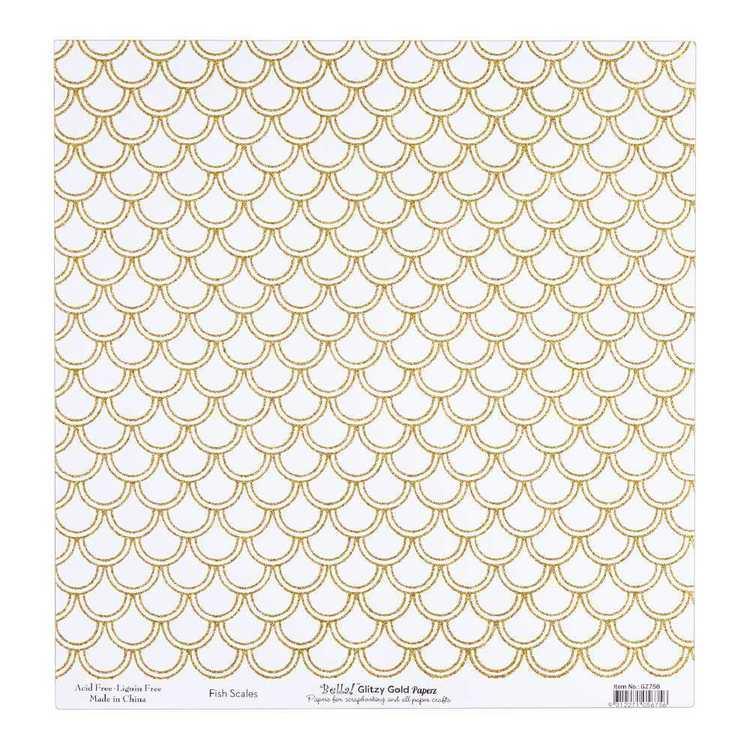 Bella Glitzy Gold Fish Scales Cardstock Paper
