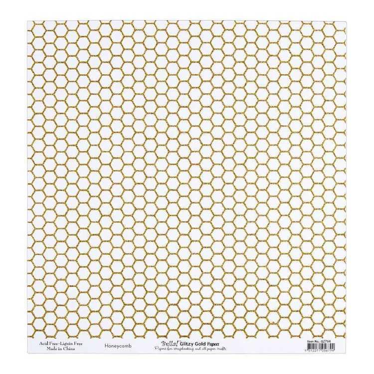 Bella Glitzy Gold Honeycomb Cardstock Paper