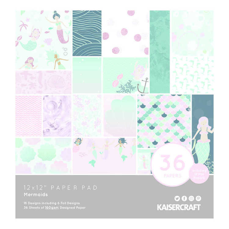 Kaisercraft Mermaid Paper Pad Multicoloured 12 x 12 in