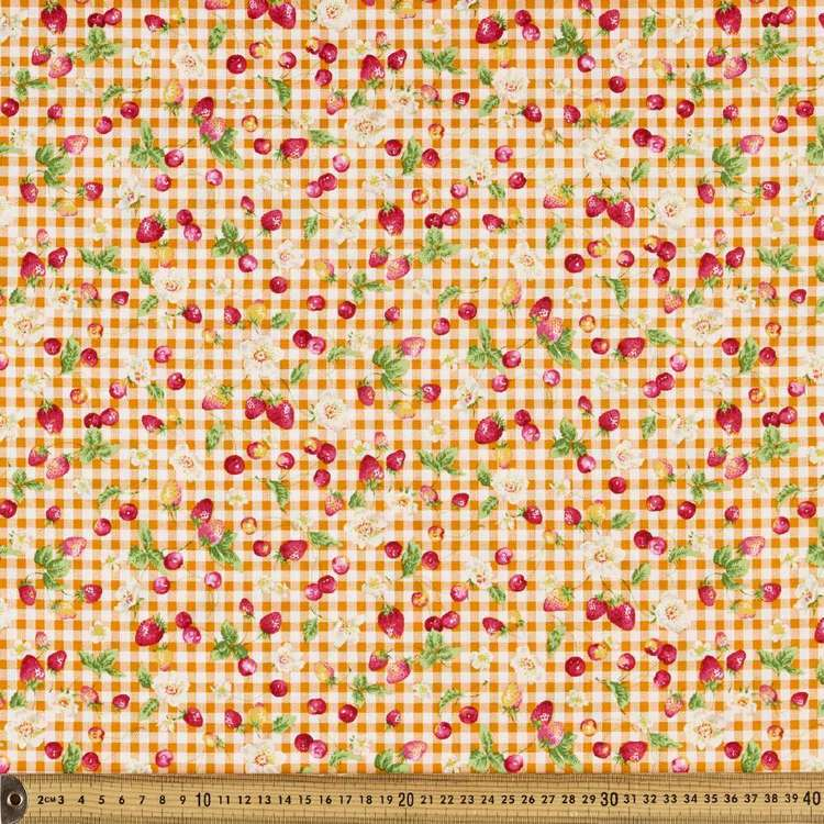 Fruit Gingham Printed Japanese Poplin Fabric