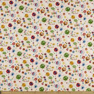 Monster Party Printed Buzoku Cotton Duck Fabric