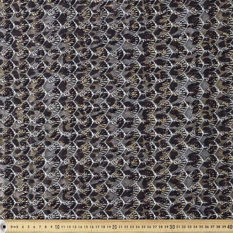 Leopard Printed Metallic Lace Fabric