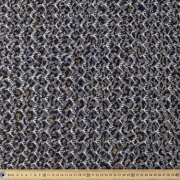 Snake Printed Metallic Lace Fabric