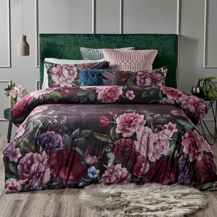 KOO Cecily Velvet Floral Quilt Cover Set