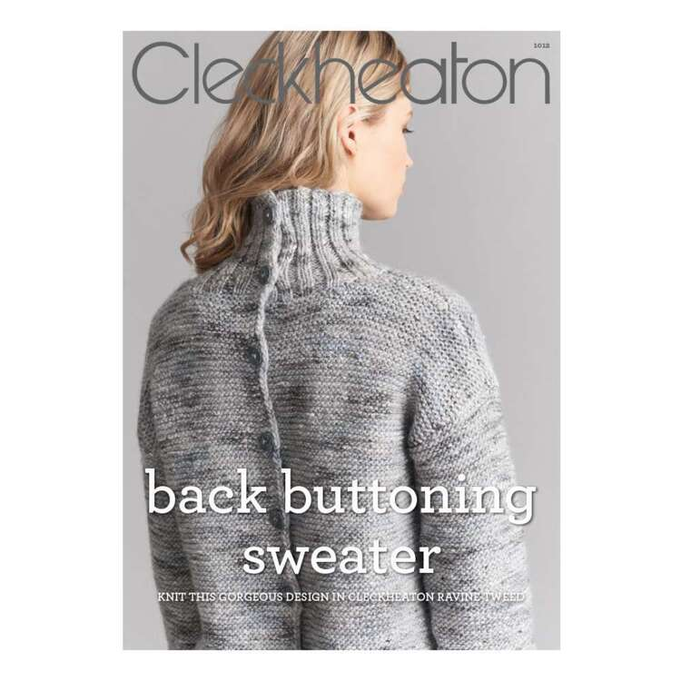 Cleckheaton Back Buttoning Sweater Pattern #1012 Leaflet Grey A4