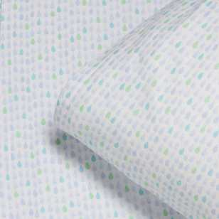KOO Kids Blue Raindrops Flannelette Sheet Set