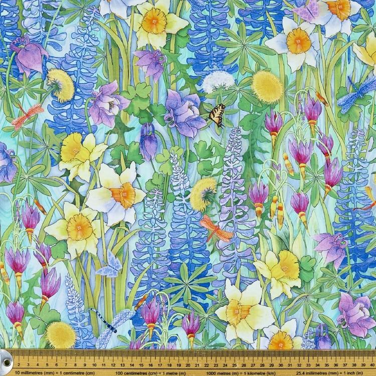 Nature's Garden Digital Garden Cotton Fabric