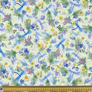 Nature's Garden Digital Dragonflies Cotton Fabric